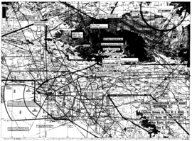 Collision chart indicating the flight paths of each aircraft superimposed over a topographical map of the area.