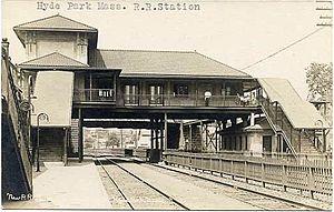 Hyde Park (MBTA station) - The early 20th century overhead station on a ca. 1910 postcard