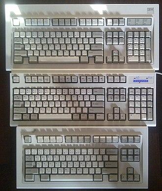 Unicomp - Image: IBM and Unicomp Model M keyboards