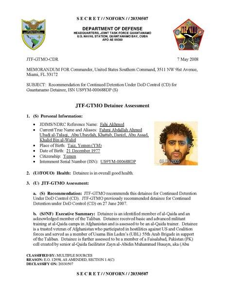 File:ISN 00688, Fahi Akhmed's Guantanamo detainee assessment.pdf