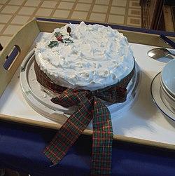 A heavily iced Christmas cake