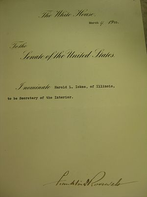 Harold L. Ickes - Ickes's Secretary of the Interior Nomination