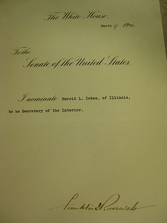 Harold L. Ickes - Ickes's Secretary of the Interior Nomination