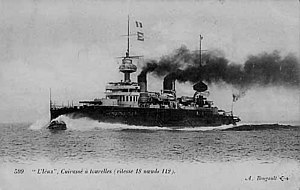 French battleship Iéna - A postcard of Iena at speed in a calm sea