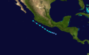 Track and intensity of Tropical Storm Ileana