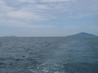Ilhabela - Vitória (left) and Búzios (right) islands seen from the South.