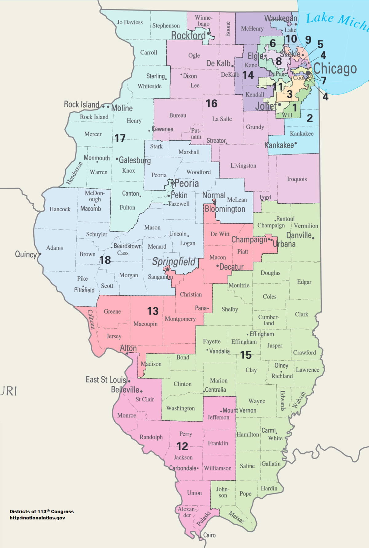 Illinois Congressional Districts Wikipedia - United states map illinois