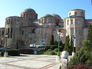 Zeyrek Mosque - The mosque viewed from north east. From left to right, one can see the apses of the Church of Christ Pantocrator, the Imperial Chapel and the Church of the Theotokos Eleousa.