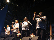 "Little Anthony and the Imperials in 2005, New York City.  (L naar R) Harold Jenkins, Ernest Wright, Clarence Collins, ""Little Anthony"" Gourdine"