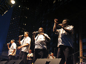 "Little Anthony and the Imperials - Little Anthony and the Imperials in 2005, New York City. (L to R) Harold Jenkins, Ernest Wright, Clarence Collins, ""Little Anthony"" Gourdine"