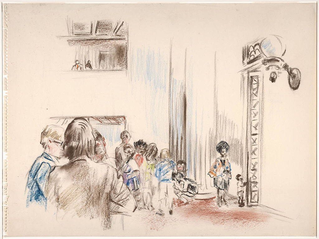 file impressionistic drawing of people the foyer to the connecticut superior court  new haven