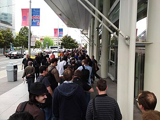Apple Worldwide Developers Conference - Attendees wait to enter Moscone West to watch the 2009 keynote address.