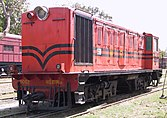 Faded red locomotive