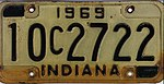 Indiana 1969 license plate - Number 10C2722.jpg