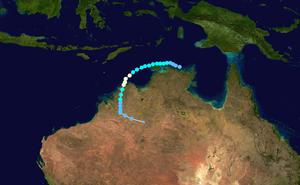 1973–74 Australian region cyclone season - Image: Ines 1973 track
