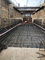 Installing rebar for the walls and base slab for the final tunnel approach structure currently being built in Harold Interlocking. (49363292873).jpg