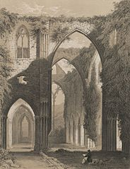 Interior of Tintern Abbey, Monmouthshire. Looking East