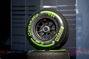 Rain tyre - Intermediate tyre by Pirelli at the 2016 Austrian Grand Prix