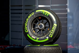 Rain tyre - Intermediate tyre by Pirelli at the 2016 Austrian Grand Prix