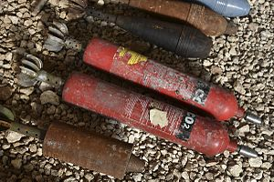 Improvised artillery in the Syrian Civil War - Factory made and improvised mortar projectiles found in Aleppo.