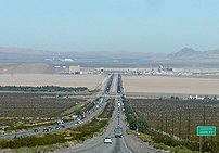 Northbound I-15 makes a steep descent from  th...