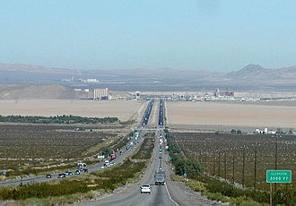Interstate 15 - Northbound I-15 makes a steep descent from the Mountain Pass into the Ivanpah Valley, CA