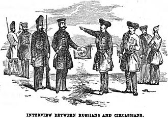 Circassian genocide - Russian military and Circassian representatives meet for discussions, 1855