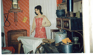 Pampa, Texas - Ironing in the kitchen, ca. 1900, White Deer Museum