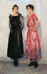 Deux modèles, Epi et Gertie, dans la maison de couture Hirsch d'Amsterdam