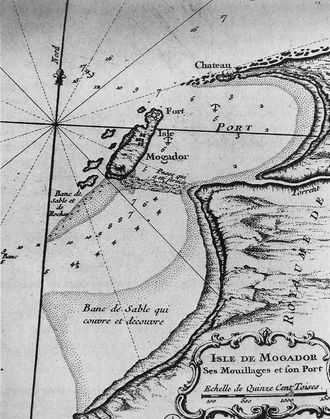 """Castelo Real - Location of the Castelo Real (""""Chateau"""") at the northern edge of the bay of Mogador, where the harbour of Essaouira is located today."""