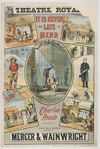 Charles Reade - Theatre poster from It is never too late to mend