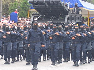 Gruppo di intervento speciale - GIS operators marching in public on the Rome Parade in 2006.