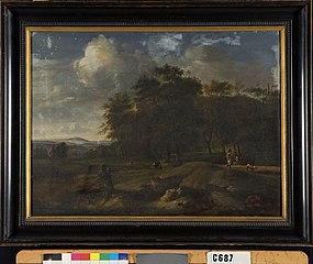 Een beekje met figuren aan de rand van een bos