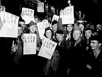 Jap - Headlines announcing Japan's surrender in World War II