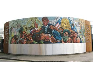 J. F. Kennedy Memorial, Birmingham - The completed recreation, February 2013 (Mike Nangle visible bottom right)