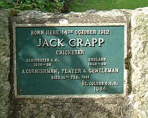 Jack Crapp - Commemorative plaque at birthplace of Jack Crapp