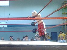 Jack Evans on the ring apron.jpg