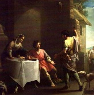 Jacob - Jacob offering a dish of lentils to Esau for his birthright, 18th-century painting by Zacarias Gonzalez Velazquez.