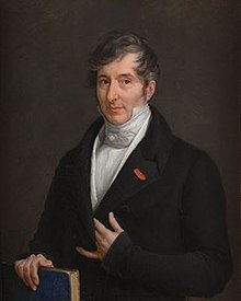 Painting of a man with grey hair, holding a book.