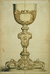 Design for a chalice with Rococo decorative motifs