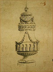 Design for a silver pepper pot in Louis XVI style