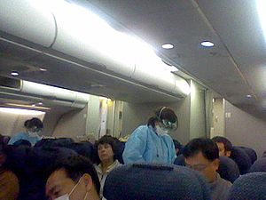 2009 flu pandemic in Japan - Health officials check airline passengers before allowing disembarkation of an international flight back to Japan