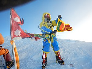 Jayanthi Kuru-Utumpala - Jayanthi Kuru-Utumpala waving the Sri Lankan flag on the summit of Mount Everest at 5:03 am on 21st May 2016