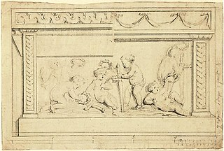 Design for a decorative panel (mantelpiece?)