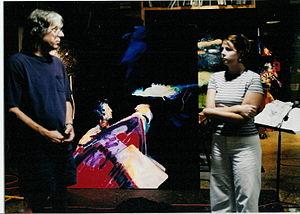 Jere Allen - Jere Allen speaking with an admirer at his Oxford, Mississippi, studio, 2001.