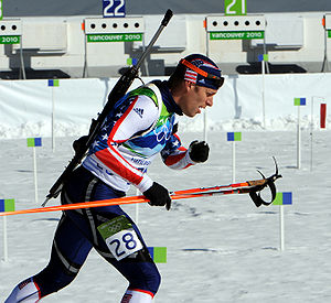 United States at the 2010 Winter Olympics - Jeremy Teela departs the shooting range of the 15 km mass start.