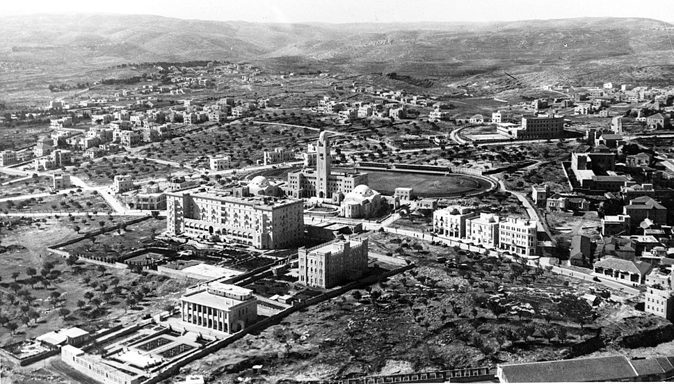 Jerusalem from the air. Newer Jerusalem. Y.M.C.A. and King David Hotel. 1931. matpc.00246