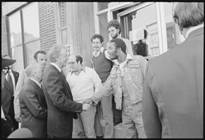 United States presidential election in New York, 1976 - President Carter shakes hands with residents of  Bronx, NYC, shortly after being elected.