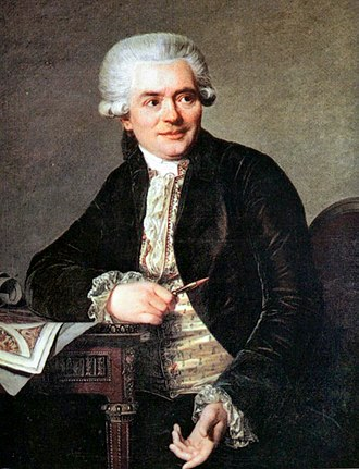 Jean Henri Riesener - Portrait of Jean-Henri Riesener seated at one of his writing tables, 1786, by Antoine Vestier (Musée de Versailles)