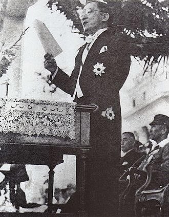 President of the Philippines - José P. Laurel giving a speech after his inauguration as President of the Second Philippine Republic